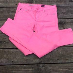 Adriano Goldschmied Neon Pink Slit Cigarette Leg